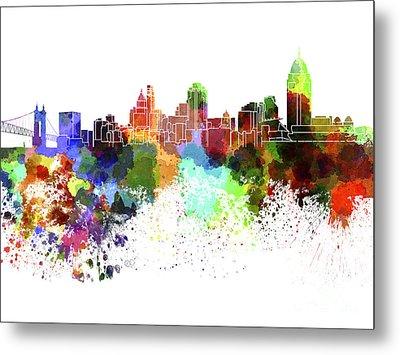 Cincinnati Skyline In Watercolor On White Background Metal Print by Pablo Romero
