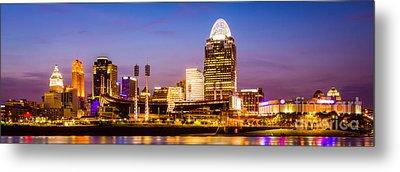 Cincinnati Skyline Night Panorama Photo Metal Print by Paul Velgos