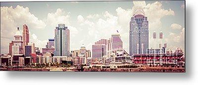 Cincinnati Skyline Panorama Vintage Photo Metal Print by Paul Velgos