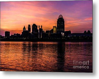 Cincinnati Skyline Sunset At Night Metal Print by Paul Velgos