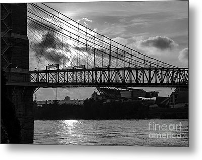 Cincinnati Suspension Bridge Black And White Metal Print by Mary Carol Story