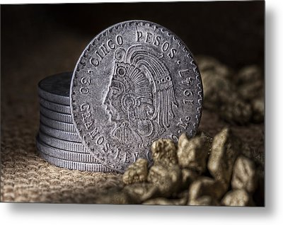 Cinco Pesos Still Life Metal Print by Tom Mc Nemar