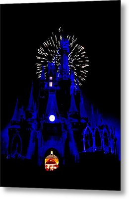 Cinderella Castle Fireworks Metal Print by Benjamin Yeager