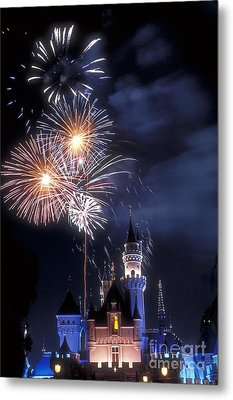 Cinderella Castle Fireworks Iconic Fairy-tale Fortress Fantasyland Metal Print by David Zanzinger
