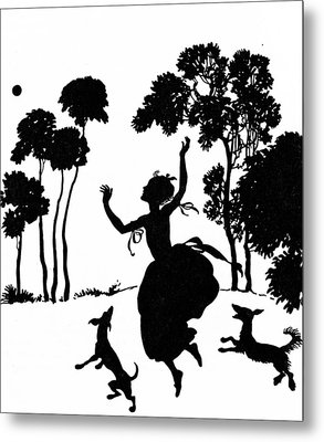 Cinderella Playing With Her Dogs Metal Print by Arthur Rackham