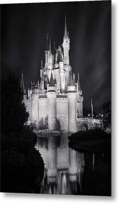 Cinderella's Castle Reflection Black And White Metal Print by Adam Romanowicz