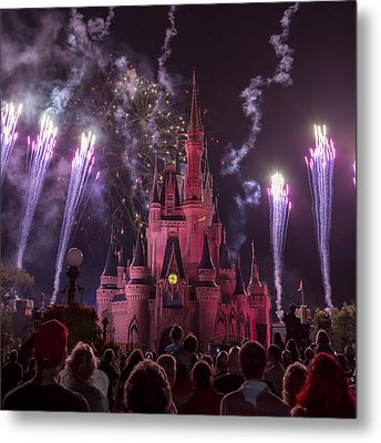 Cinderella's Castle With Fireworks Metal Print
