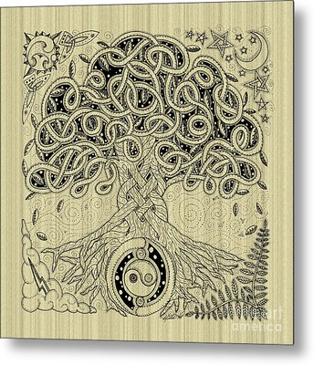 Circle Celtic Tree Of Life Inked Metal Print