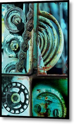 Circle Collage In Blue Metal Print