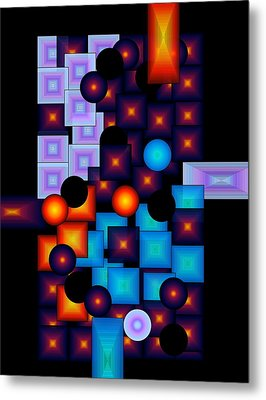 Metal Print featuring the digital art Circles Vs.squares by Gayle Price Thomas