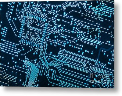 Circuit Board Metal Print by Carlos Caetano