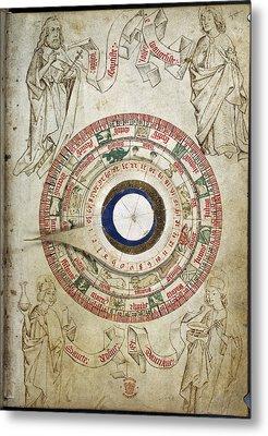 Circular Zodiacal Lunar Scheme Metal Print by British Library