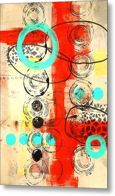 Circus Abstract Mixed Media Collage Metal Print by Nancy Merkle