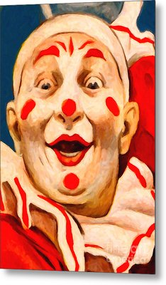 Circus Clown - 2012-1230 - Painterly Metal Print by Wingsdomain Art and Photography