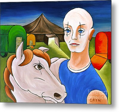 Circus Man And Horse Metal Print by William Cain