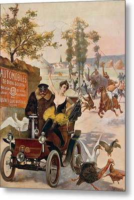 Circus Star Kidnapped Wilhio S Poster For De Dion Bouton Cars Metal Print