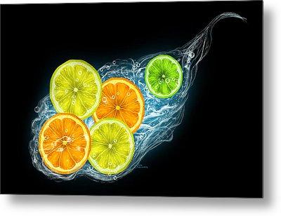 Citrus Fruits On A Black Background Metal Print