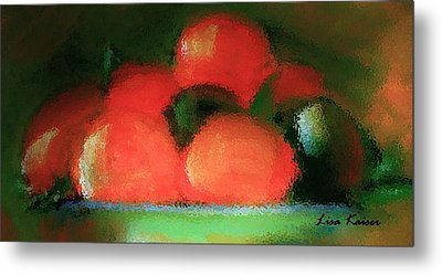 Citrus In Pottery Bowl Metal Print by Lisa Kaiser