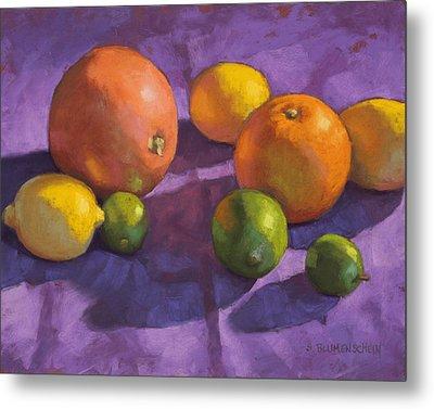 Citrus On Purple Metal Print by Sarah Blumenschein