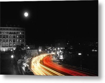 City And The Moon Metal Print by Taylan Apukovska