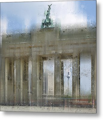 City-art Berlin Brandenburg Gate Metal Print by Melanie Viola