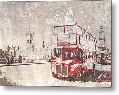 City-art London Red Buses II Metal Print by Melanie Viola