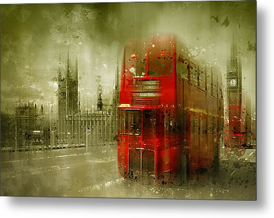 City-art London Red Buses Metal Print by Melanie Viola