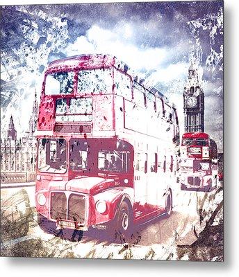 City-art London Red Buses On Westminster Bridge Metal Print