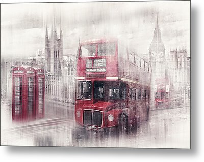 City-art London Westminster Collage II Metal Print by Melanie Viola