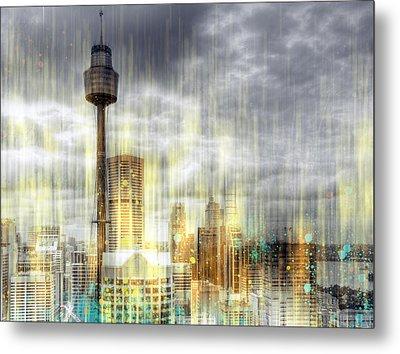 City-art Sydney Rainfall Metal Print by Melanie Viola