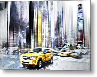 City-art Times Square II Metal Print by Melanie Viola