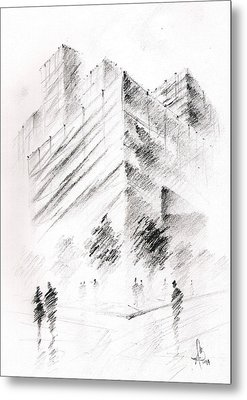 Metal Print featuring the drawing City Building by Fanny Diaz