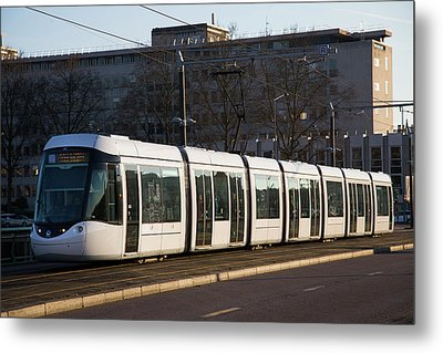 City Centre Tram Metal Print by Andrew Wheeler