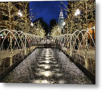 Metal Print featuring the photograph City Creek Fountain - 2 by Ely Arsha