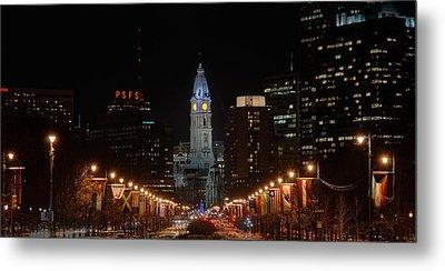 City Hall At Night Metal Print by Jennifer Ancker