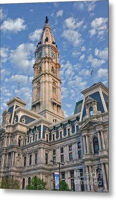 City Hall Clock Tower Downtown Phila Pa Metal Print