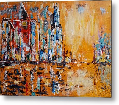 Metal Print featuring the painting City In Gold by Zeke Nord