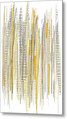City Life- Yellow And Gray Art Metal Print by Lourry Legarde