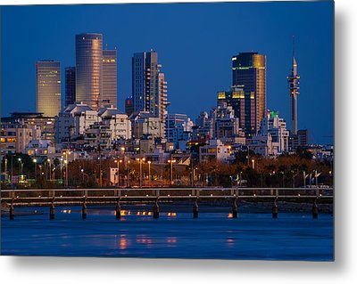 Metal Print featuring the photograph city lights and blue hour at Tel Aviv by Ron Shoshani