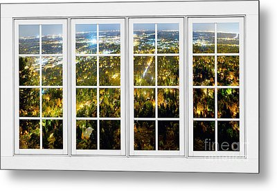 City Lights White Window Frame View Metal Print by James BO  Insogna