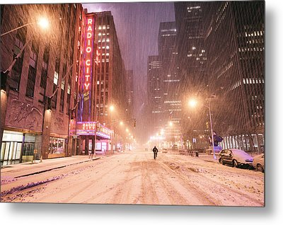City Night In The Snow - New York City Metal Print