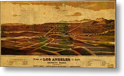 City Of Los Angeles California Vintage Birds Eye View City Street Map 1877 Metal Print