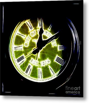 City Of Martinez California Town Clock - 5d20862 - Electric Metal Print by Wingsdomain Art and Photography