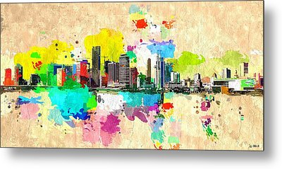 City Of Miami Grunge Metal Print