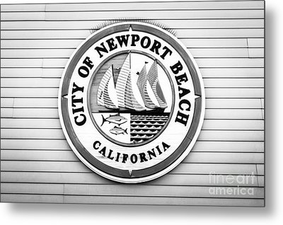 City Of Newport Beach Sign Black And White Picture Metal Print by Paul Velgos
