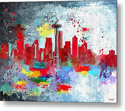 City Of Seattle Grunge Metal Print