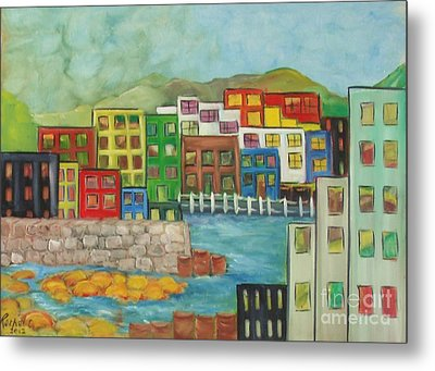 City On The Canal Metal Print by Rachel Carmichael