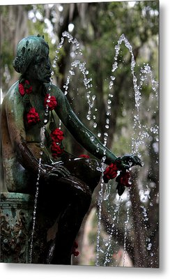 City Park Fountain II Metal Print by Beth Vincent