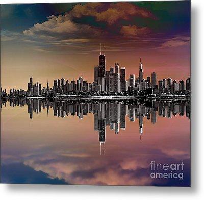 City Skyline Dusk Metal Print by Bedros Awak