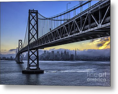 City Skyline Under The Bay Bridge Metal Print by Peter Dang